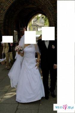 sprzedam biała suknie, wierzchnia warstwa z muslinu