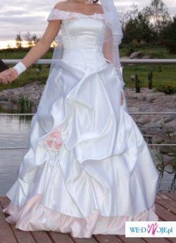 Sprzedam Biało Różową Suknię ślubna Suknie ślubne Ogłoszenie