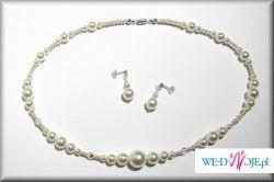 Sprzedam biżuterię Ślubną białe perełki/kryształki/srebro