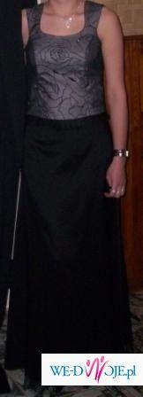 Sprzedam czarno-szarą długą suknię r.38