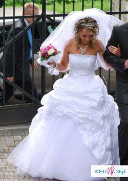 sprzedam drapowana suknie ślubna