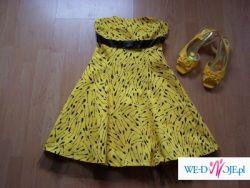 Sprzedam elegancką, modną (model 2008)suknię wieczorową + czółenka