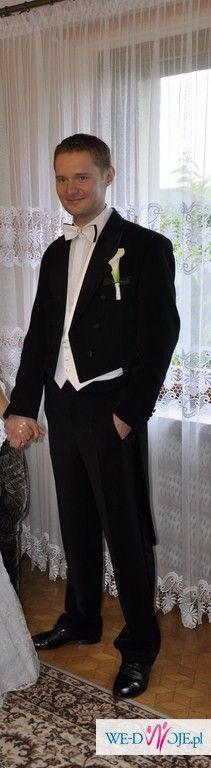 Sprzedam Frak !!! Raz ubrany, stan idealny + spodnie z lampasem + kamizelka