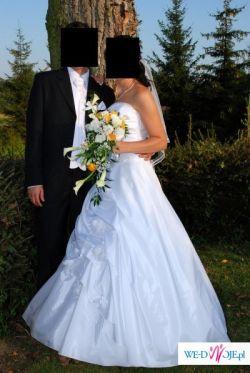 sprzedam jednoczęściową białą suknie rozmiar 38-40