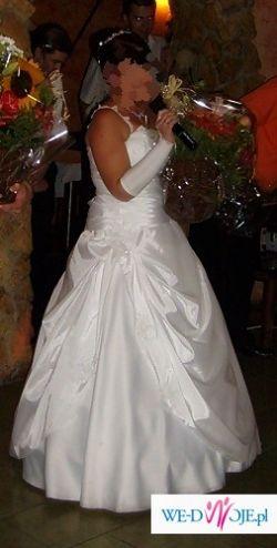 Sprzedam jednoczęściową, białą suknię ślubną!