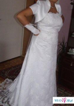 sprzedam koronkową suknię ślubną w kolorze białym