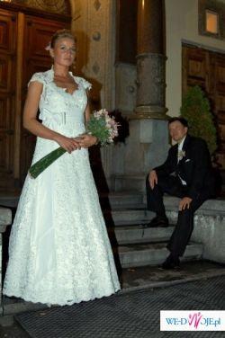 Sprzedam niepowtarzalną suknię ślubną całą z francuskiej koronki!