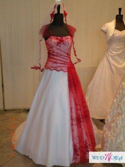 Sprzedam nietypową biało-czerwoną suknię ślubną !!! + dodatki !!!