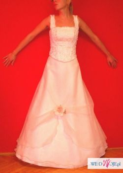 sprzedam oryginalną, śliczą suknię ślubną w kolorze ecru
