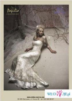 Sprzedam piękną, bardzo oryginalną suknię ślubną Papilio z kolekcji 2007