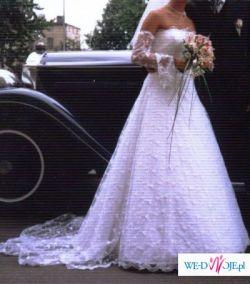 Sprzedam piękną, białą, koronkową suknię ślubną