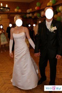 Sprzedam piękną białą suknię ślubną z trenem