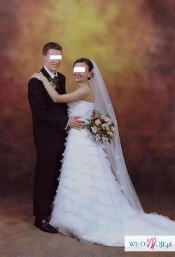 Sprzedam piękną, jednoczęściową suknię ślubną w kolorze białym