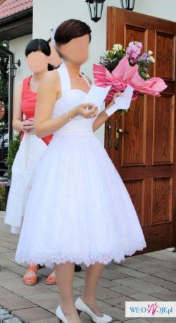 sprzedam piękną krótką suknię ślubną