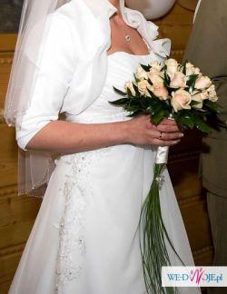 """Sprzedam piękną śniężnobiałą suknię w rozmiarze 36 z kolekcji """"Żanet""""."""
