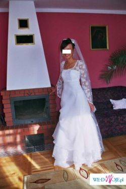 Sprzedam piękną suknię (gratis długi welon)