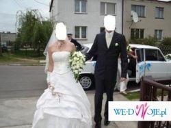 sprzedam piękną suknie  ślubną + dodatki ,kolor ecru,rozmiar 38