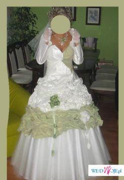 Sprzedam piękną suknię ślubną ecru z dodatkiem pistacji!! Cena do uzgodnienia!!