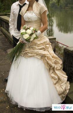 sprzedam piękną suknię ślubną ecru ze złotem, Bytom