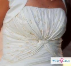 Sprzedam piękną suknię ślubną (+ rękawiczki,welon, buty 39, bolerko)