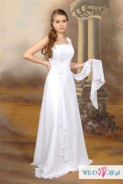 Sprzedam piekną suknię ślubną w białym kolorze, rozmiar 38.