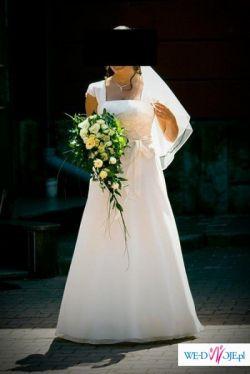 Sprzedam piękną suknię ślubną w kolorze ecru