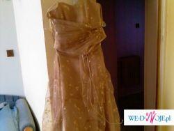sprzedam piękną suknię w kolorze starego złota z brokatem