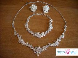 Sprzedam piekny komplet biżuterii ślubnej w kolorze ecru