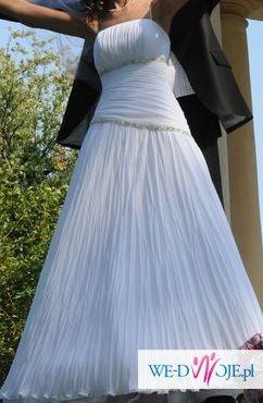 Sprzedam plisowaną suknię ślubną dla filigranowej panny młodej
