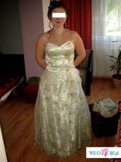 sprzedam przepiękną suknię kolor jasny seledyn