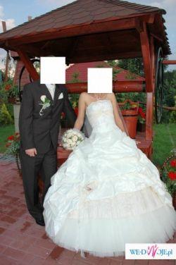 Sprzedam przepiękną suknie ślubną ecri z trenem