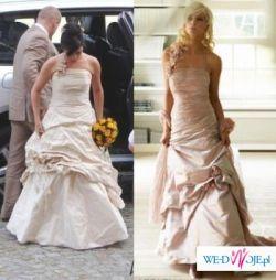 Sprzedam przepiękną suknię ślubną kolor cappuccino rozmiar 34/36