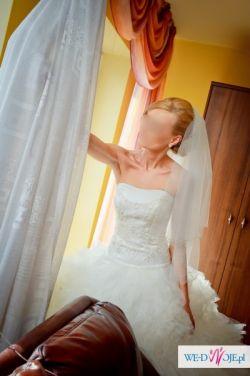 sprzedam przepiękną suknię ślubną w kolorze śmietanki