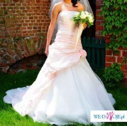 Sprzedam przepiękną suknię ślubną w niepowtarzalnym różowym kolorze