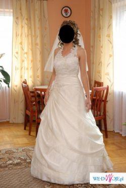 Sprzedam przepiękną suknię w kolorze ecru + dodatki gratis