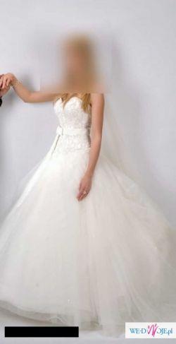 Sprzedam, prześliczną, romantyczną suknię ślubną w kolorze ecru