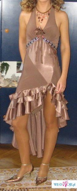 Sprzedam sexy sukienkę w kolorze cappuccino