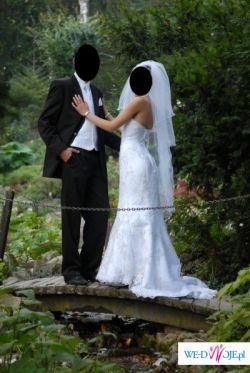 Sprzedam śliczną białą suknię ślubną Cosmobella 7229 rozmiar 34/36