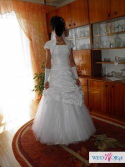 Sprzedam śliczną, białą suknię ślubną w rozmiarze 36