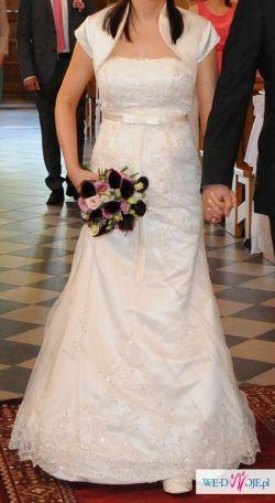 Sprzedam śliczną, koronkową suknię śl. r. 38-40 Annais Marie