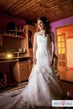 Sprzedam śliczną koronkową suknię ślubną - rozmiar 36