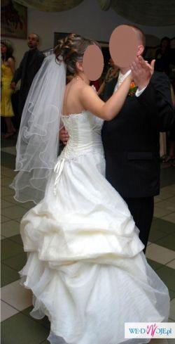 Sprzedam śliczną suknię ślubną ecru+biel rozm. 38+ dodatki