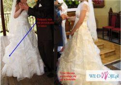 Sprzedam śliczną suknię ślubną r.38 kolor ecru