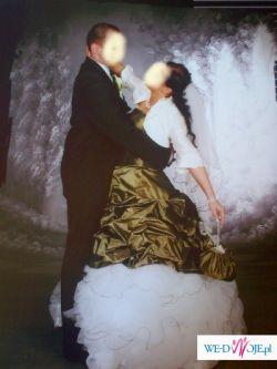 sprzedam sliczną suknię ślubną z welonem,bolerkiem oraz torebeczką