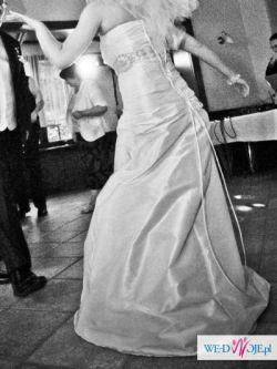 Sprzedam śmietankową suknię ślubną + bolerko