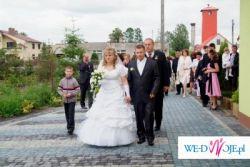 Sprzedam śnieżnobiałą śliczną suknię ślubną okazja...