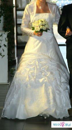Sprzedam śnieżnobiałą suknie ślubną