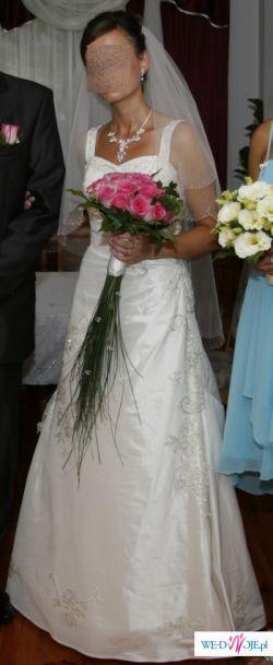 Sprzedam suknię kolor ecru jednoczęściową Tanganica 36/38 wraz z welonem