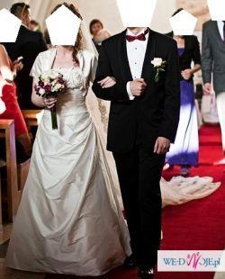 Sprzedam suknię Manuel Mota Scarlet, 2 koronkowe welony i bolerko
