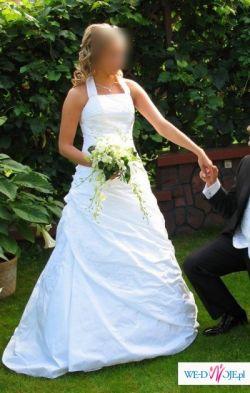 Sprzedam suknie ślubną , biała z dodatkami srebrnymi + welon, na kole ,2008